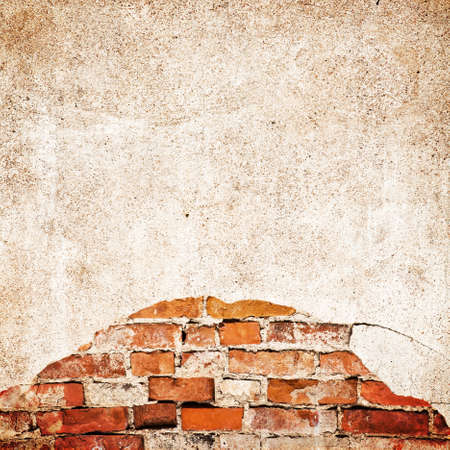 worn: Worn bricks wall with blank space for text