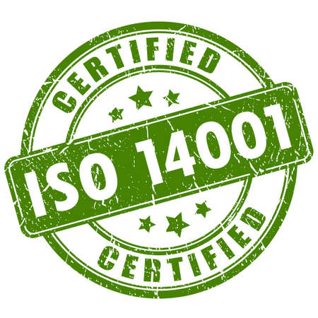 Iso 14001 certified stamp Stock Illustratie