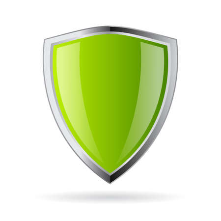 metal shield: Green shield icon Illustration