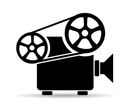 Old cinema video projector icon Stock Illustratie