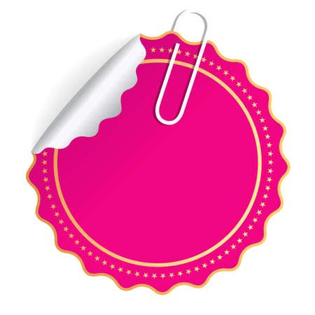 vector banner: Blank pink round sticker