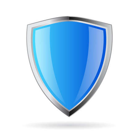 Blue glass shield icon Stock Illustratie
