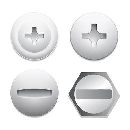 metal fastener: Screw bolt icons Illustration