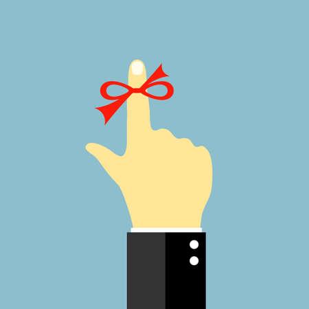 dedo: Hilo rojo alrededor del dedo, recuerde s�mbolo Vectores
