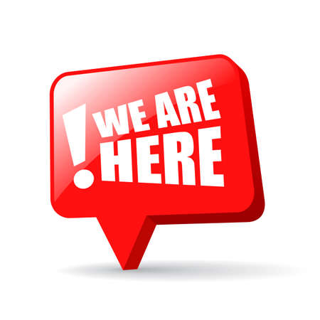 we: We are here map pin Illustration