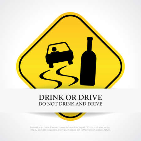 drink and drive: Do not drink and drive sign Illustration