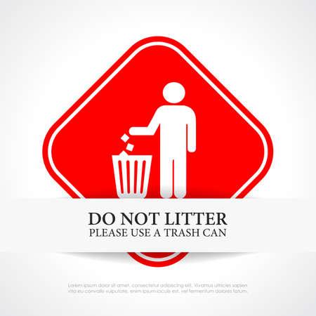 botar basura: No tire basura cartel rojo