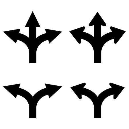 flecha direccion: Dos y tres vías flechas set Vectores