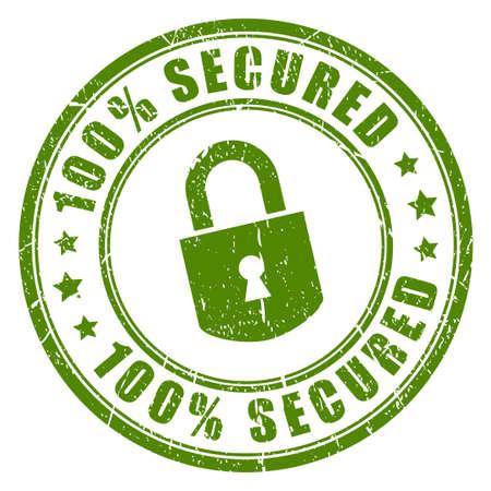 secured: 100 secured rubber stamp