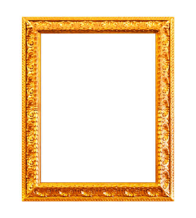 framed picture: Gold carving frame isolated on white Stock Photo