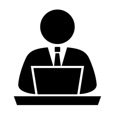 using: Person using computer, vector icon Illustration