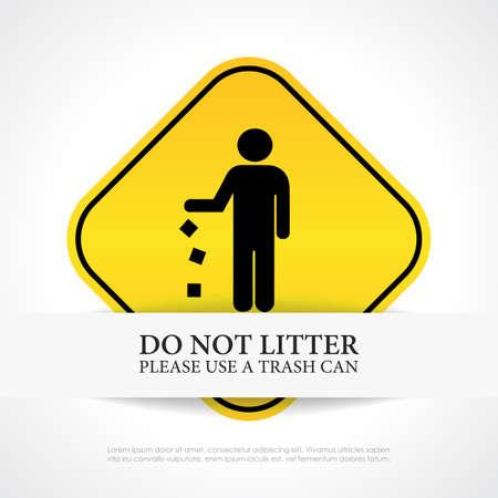 littering: No littering sign Illustration
