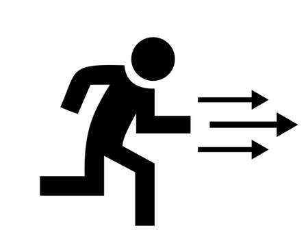 emergency: Running person icon Illustration