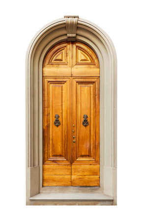 view of a wooden doorway: Old door isolated on white background Stock Photo