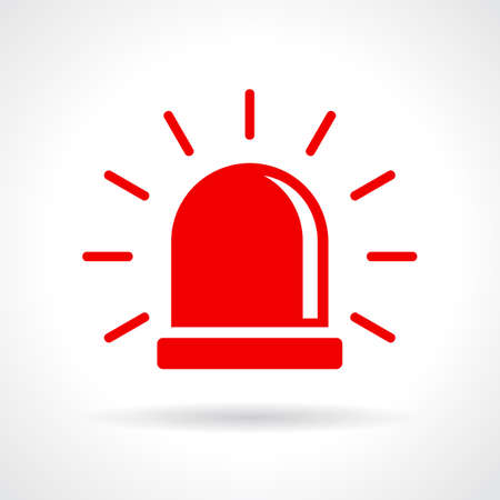 red siren: Red flashing light icon Illustration