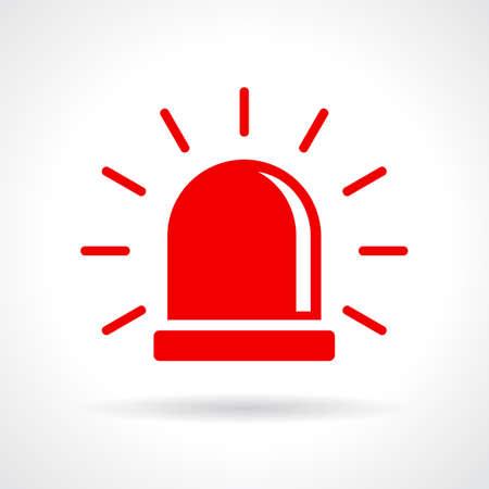 Red flashing light icon Stock Illustratie