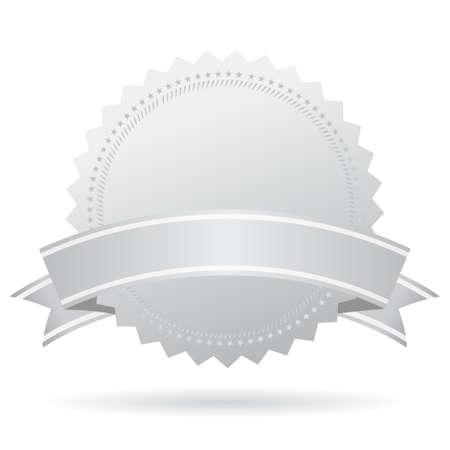 silver circle: Blank silver medal with ribbon
