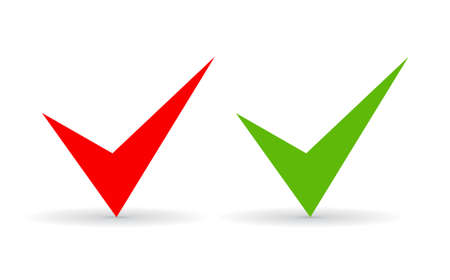 approving: Green and red ticks set Illustration