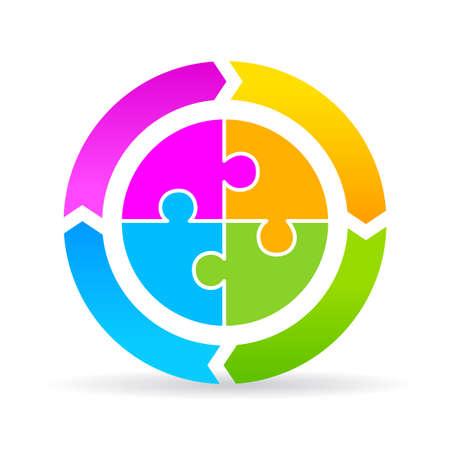 空白の 4 つの部分のサイクル図  イラスト・ベクター素材