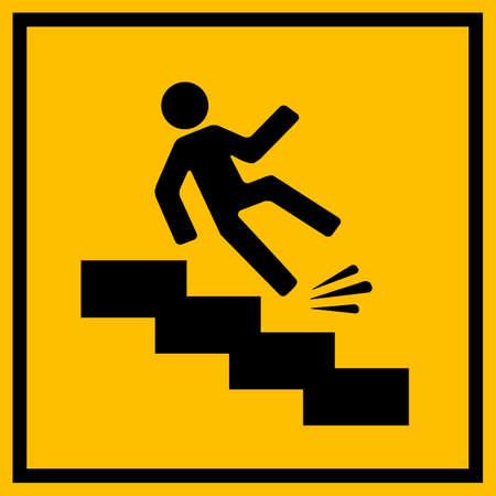 down stairs: escaleras resbaladizas señal de peligro Vectores
