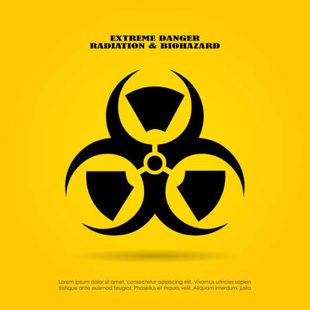 toxins: Extreme danger symbol, radiation and biohazard mix