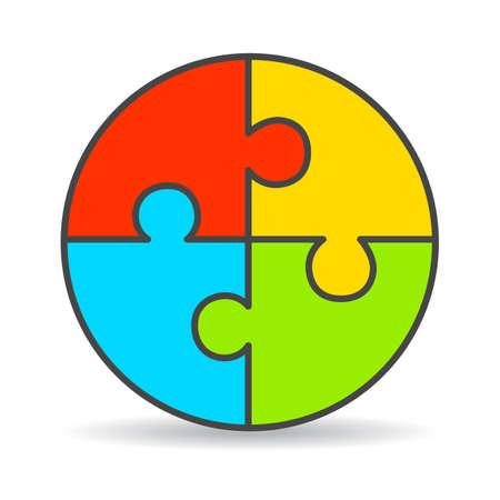 ciclo de vida: Diagrama de puzzle proceso de cuatro partes Vectores