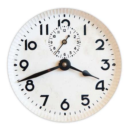 cronografo: cara de reloj vieja aislado en blanco Foto de archivo