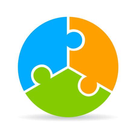 Třídílný puzzle proces diagram