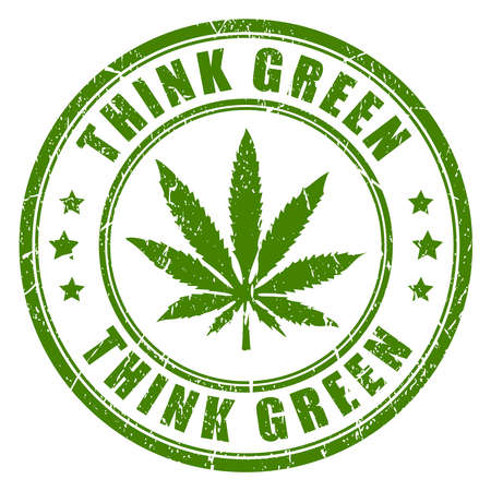 canabis: Cannabis rubber stamp, think green