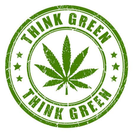 Sello de goma de cannabis, piense el verde