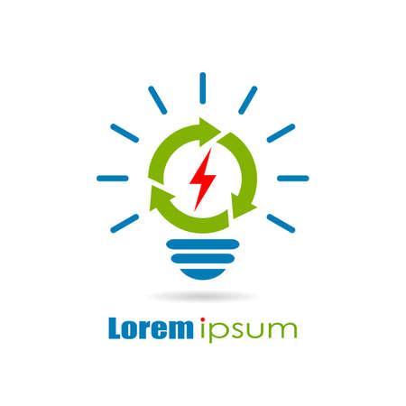 bombillas: logotipo de la energía verde renovable Vectores