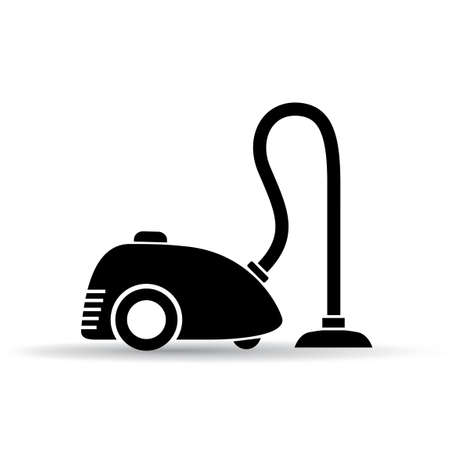 electric broom: Vacuum cleaner vector pictogram