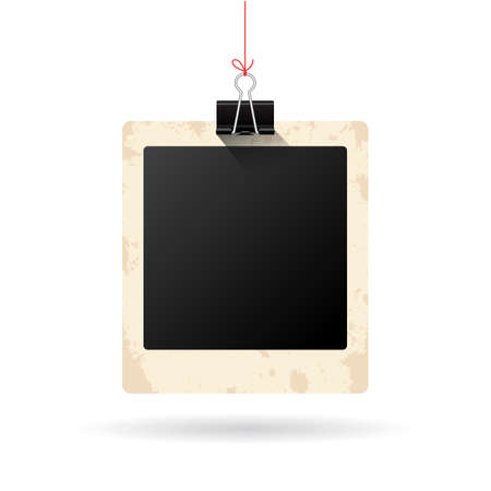 closeup: Blank hanging instant photo card Illustration