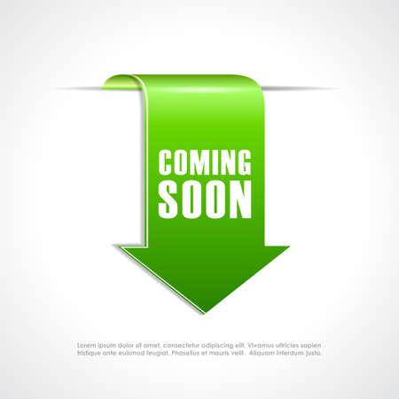 Coming soon green arrow ribbon Illustration