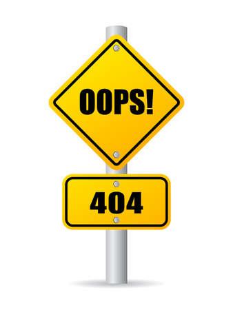 moved: Oops 404 sign Illustration