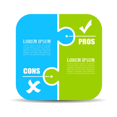Pros and cons puzzle diagram