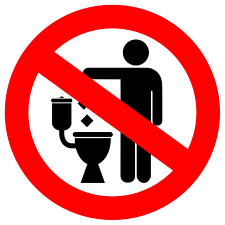 warning signs: No littering in toilet sign Illustration