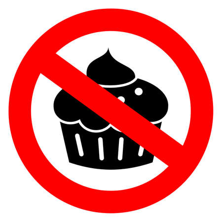 forbidden pictogram: No sweets diet sign