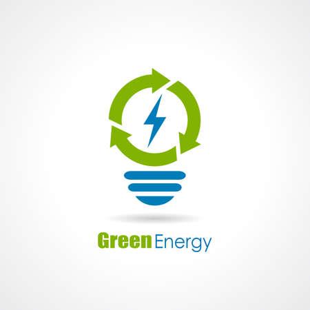 Logotipo de la bombilla de la energía verde Foto de archivo - 52082799