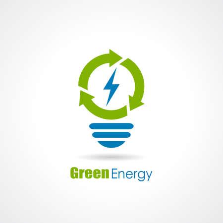 Green energy bulb logo Illustration