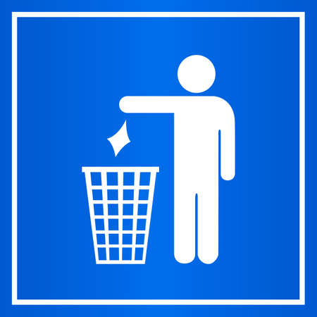 littering: Do not litter blue sign Illustration