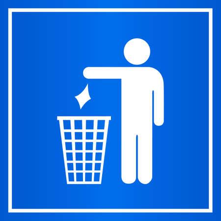 botar basura: No tire basura señal azul