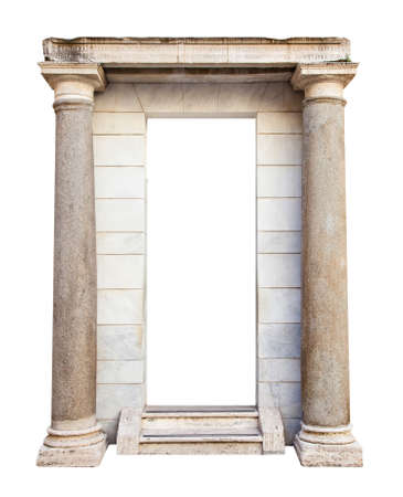 Ancient roman entrance with columns Stock Photo