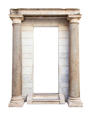 Oude roman entree met kolommen Stockfoto