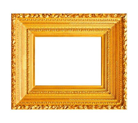framed picture: Horizontal wood gold frame isolated on white