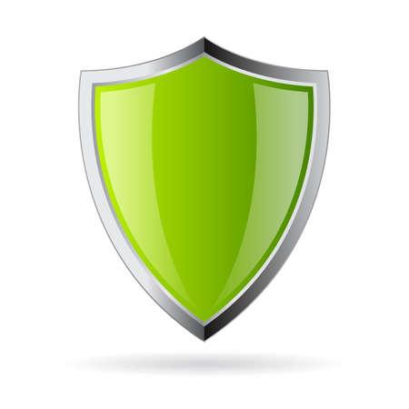 icono del escudo de cristal verde Ilustración de vector