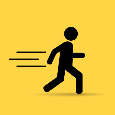 quickly: Running person icon Illustration