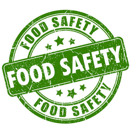 Food safety rubber stamp Stock Illustratie