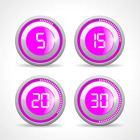 15 20: Timer 5 15 20 30 minutes, vector illustration on white background