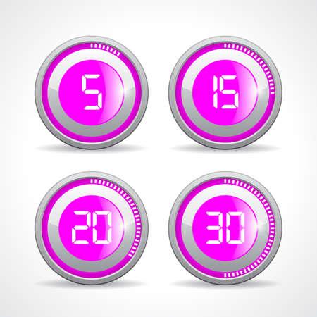 twenty second: Timer 5 15 20 30 minutes, vector illustration on white background